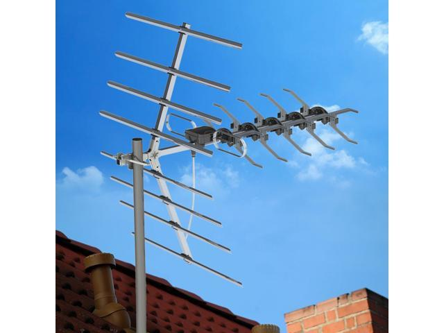 Leadzm 1080P 180Mile Outdoor Amplified HD TV Antenna Install-free 36dB UHF//VHF