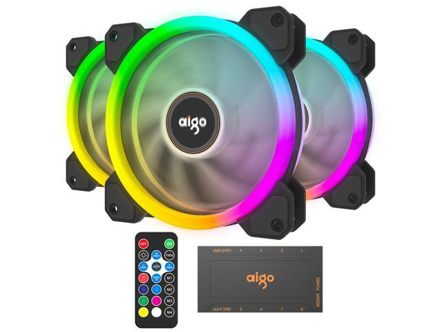 3-pack RGB LED 120mm High Performance Case Cooling Fan w//Remote For Computer CPU