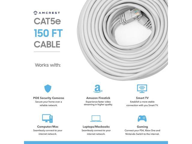 Amcrest Cat5e Cable 150ft Ethernet Cable Internet High Speed Network Cable  for POE Security Cameras, Smart TV, PS4, Xbox One, Router, Laptop,