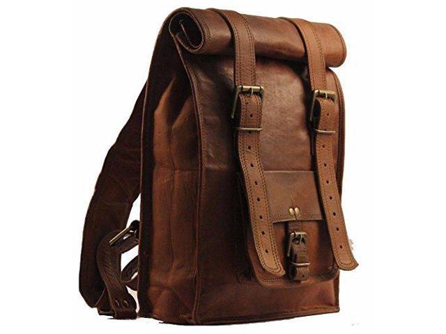 Men/'s Leather Vintage Laptop Backpack Rucksack One Size Brown