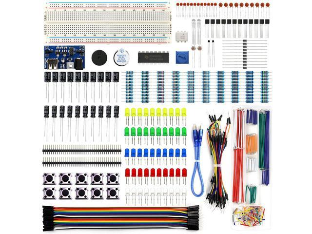 REXQualis Electronics Component Fun Kit w/Power Supply Module, Jumper Wire,  830 tie-points Breadboard, Precision Potentiometer,Resistor for Arduino,