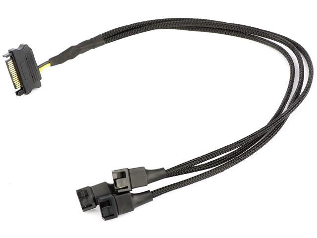CRJ All Black PWM 3-Way Sleeved Fan Splitter Adapter Cable CRJ Electronics