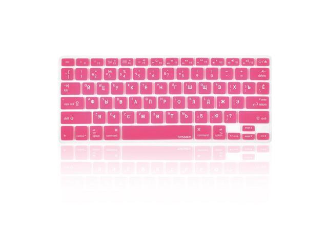 "FULL HOT PINK Keyboard Skin Cover Case for Macbook White 13/"""
