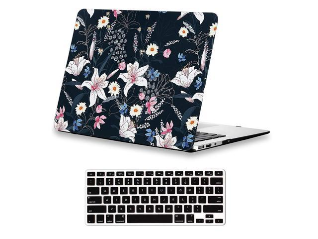 the latest c3c10 c72c5 Lapac MacBook Air 13 inches Case Floral, Lily Flower Case for A1466 A1369  MacBook Air 13 inch, Rubber Coated Soft-Touch Hard Shell Case with Keyboard  ...