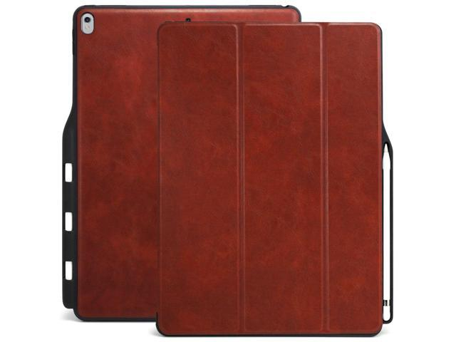 best service ffd68 b008a KHOMO iPad Pro 12.9 Inch Case with Pen Holder - Dual Brown PU Leather Super  Slim Cover with Rubberized Back and Smart Feature (Sleep/Wake) for Apple ...