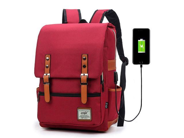 Junlion Unisex Business Laptop Backpack College Student School Bag Travel Rucksack Daypack with USB Charging Port Red - Newegg.com