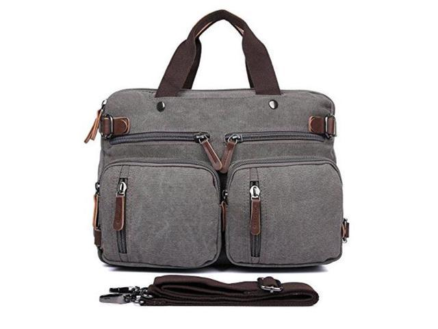 Hybrid Multifunction Handbag Messenger Bag Laptop Backpack With Shoulder Bag Multi Functional Business Briefcase Canvas College School Computer Bag For Women Men Fits 17 3 Inch By Gudui Gray Newegg Com