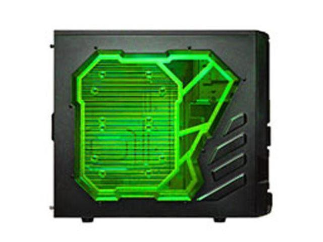Apevia X-SNIPER2-GN ATX Mid Tower Gaming Case with Large Green Side Window 1 x