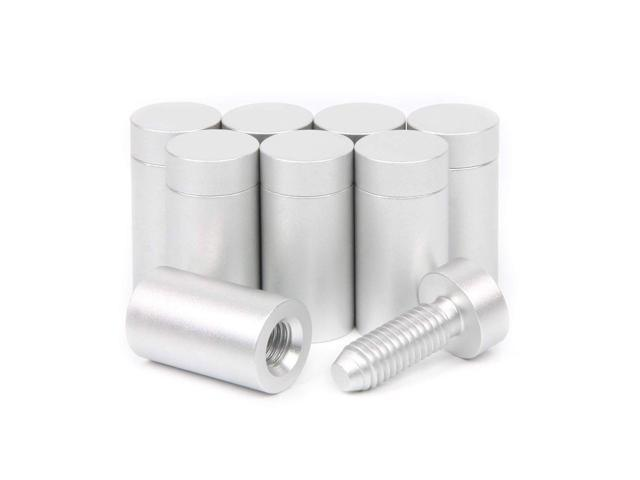 Aluminum Standoff Screws 15x25 mm for Sign Holder Silver Mounts Finish  Advertising Nails Wall Connector for Acrylic Glass PVC Wood Panel 8 Pcs -