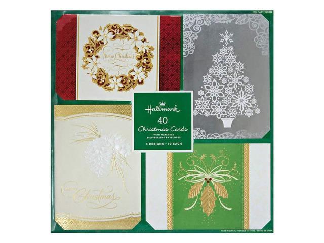 Hallmark Christmas Cards.Hallmark Christmas Cards With Envelopes 4 Design 40 Cards Wreathes Holly Newegg Com