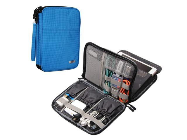 BUBM Electronics Organizer, Double Layer Electronics Bag Compatible with  iPad Mini, Cables, Plugs, External Hard Drives and More, Sky Blue -