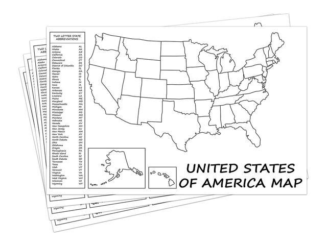United States Map - USA Poster, US Educational Map - With 2 Letter State  Abbreviation - for Ages Kids to Adults- Home/School/Office- Printed on  110Lb ...