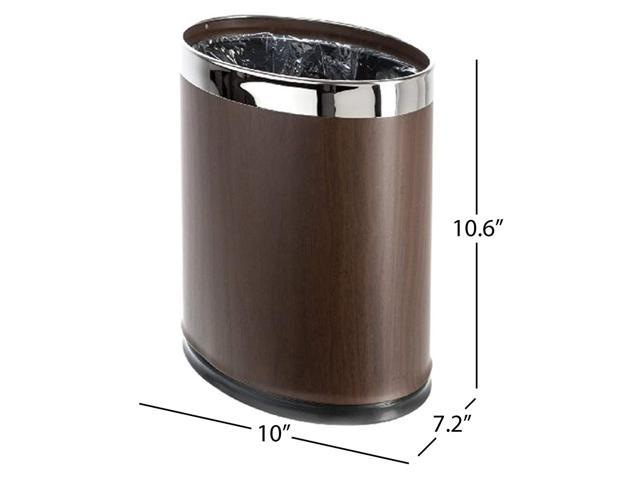 Brelso Invisi Overlap Metal Trash Can Open Top Small Office Wastebasket Oval Shape Wood Look Newegg Com