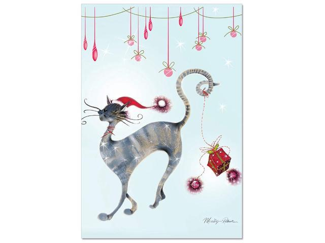 Christmas Notecard.B3301axsg Box Set Of 12 Catitude Festive Felines Christmas Notecard Featuring An Illustration Of A Stylish Holiday Cat With Envelopes Newegg Com