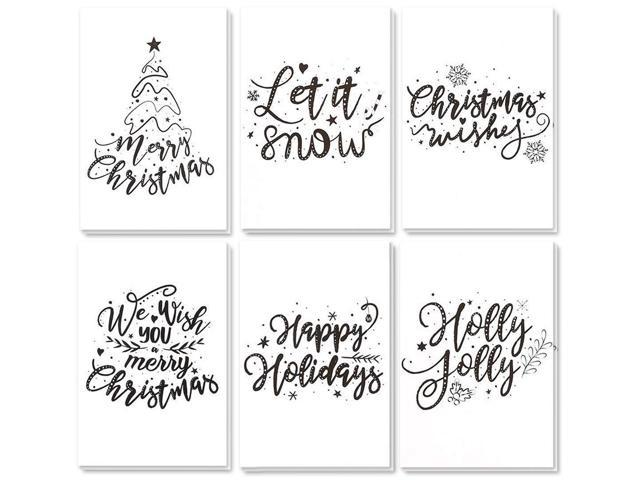 48 Pack Merry Christmas Greeting Cards Bulk Box Set Winter Holiday Xmas Greeting Cards With Artistic Word Art Design Envelopes Included 4 X 6