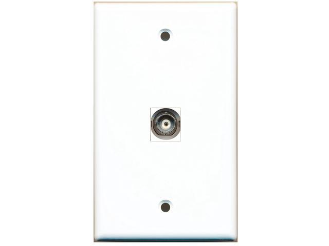riteav 1 bnc video wall plate white with keystone coupler