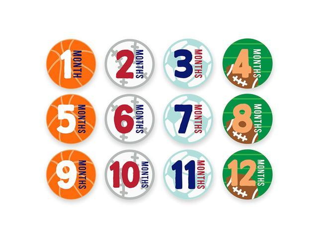 Tiny Ideas First Year Monthly Milestone Sports Baby Belly Stickers Basketball Baseball Soccer And Football 1 12 Months Newegg Com