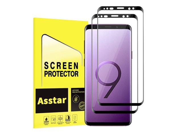 official photos efc84 c55fd [2 Pack] Galaxy S9 Plus Screen Protector, Asstar Full Coverage Case  Friendly Bubble-Free Anti-Scratch 9H Hardness Easy Installation Tempered  Glass ...