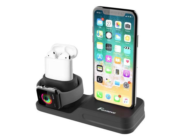 eb79ff6f888 Foxnovo 3 in 1 Charging Stand iPhone AirPods Apple Watch Charger Dock  Station Silicone, Support