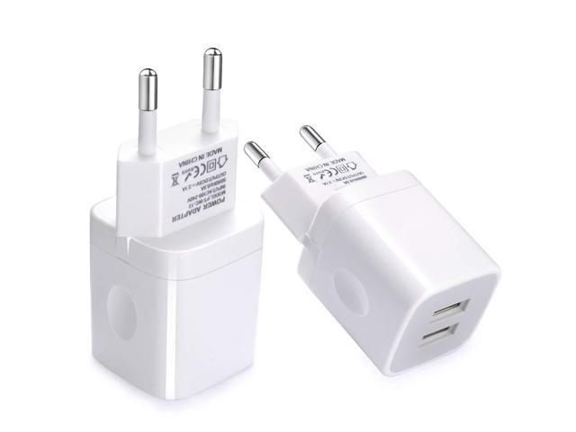 promo code d36a6 cb56c European Wall Charger, Vifigen 2-Pack USB 2.1AMP Universal Europe Charger  Block Dual Port Plug Compatible for iPhone X/8/7/7 Plus 6/6 Plus 5S 5 4S ...