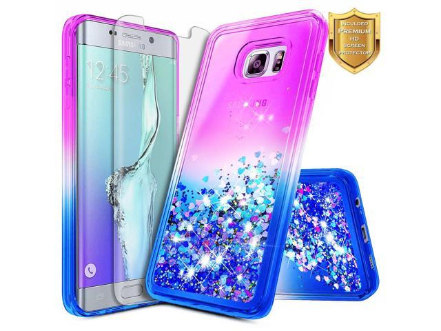 best service a1f16 0a187 Galaxy S6 Edge Plus Case w/[Full Coverage Screen Protector Premium Clear],  NageBee Glitter Liquid Quicksand Waterfall Flowing Sparkle Bling Girls Cute  ...