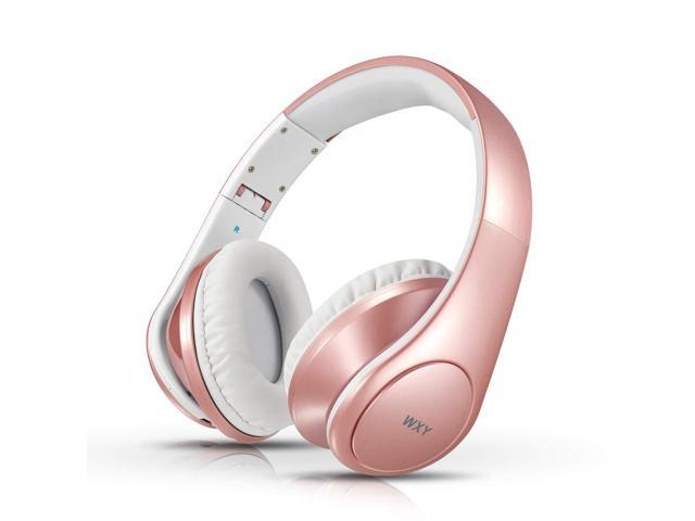 Bluetooth Headphones Over Ear Wxy Foldable Wireless Wired Bluetooth 4 2 Headphones Microphone On Headsets Volume Control Kids Women In Cell Phones Iphone Tv Pc Rose Gold Newegg Com