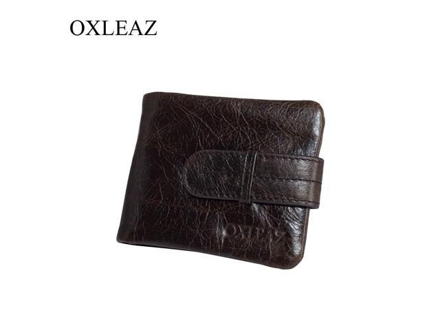 Oil Wax Cowhide Leather Men Long Bifold Wallet Purse Vintage Male Wallets
