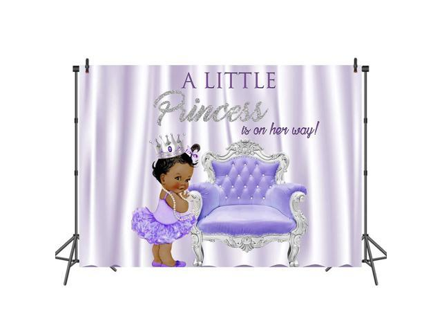 Mehofoto Purple and Silver Baby Shower Backdrop Ethnic Little Princess  Photography Backdrops 7x5ft Silver Crown Purple European Photo Background  for