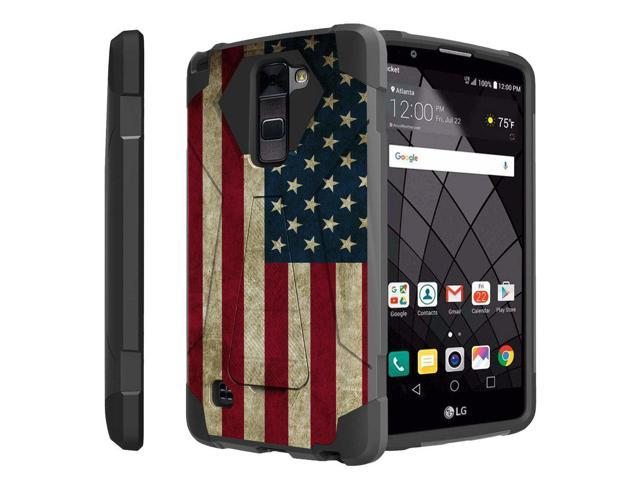 brand new 9269b 1aa5d Untouchble Case for LG Stylo 2 Plus, Stylus 2 Plus Case[Traveler Series]-  Dual Layer Hard Plastic Inner Silicone Stand Case - Vintage American Flag -  ...