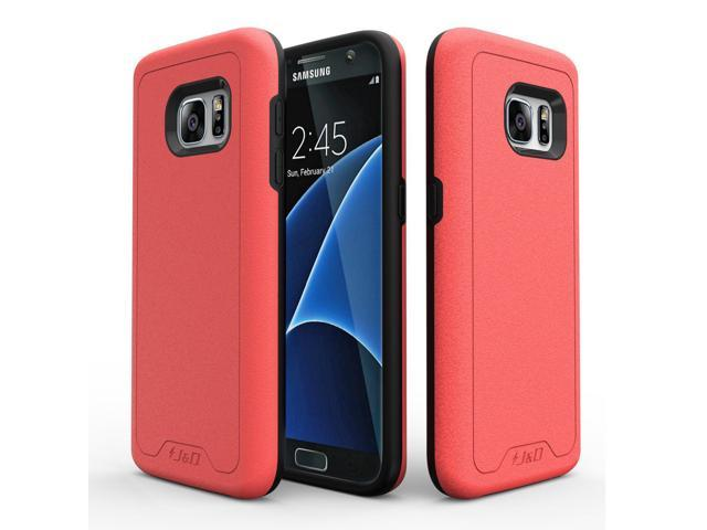 best service 331cb adf8d J&D Case Compatible for Galaxy S7 Case, [Slim Armor] [Heavy Duty] [Dual  Layer] Hybrid Shockproof Protective Case for Samsung Galaxy S7 Case - Coral  - ...