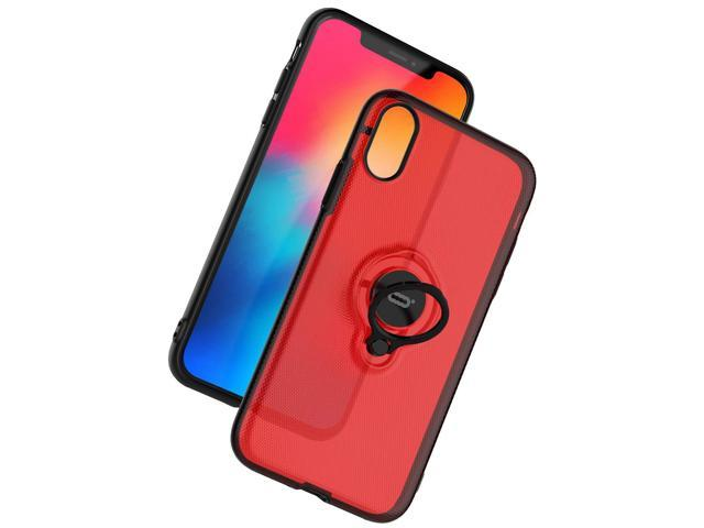 Black+Red Newseego Compatible iPhone XR Case,360 Degree Adjustable Ring Stand Frosting Thin Soft Shockproof Protective and Ring Holder Metal Kickstand Fit Car Mount Cover for Apple iPhone XR