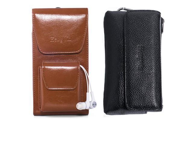 14e2b800ce45 Hengwin Horizontal Cellphone Holster Pouch Vertical Smartphone Holster Case  Belt Clip Leather Phone Pocket Magnetic Closure Men Bag with Belt Loop for  ...