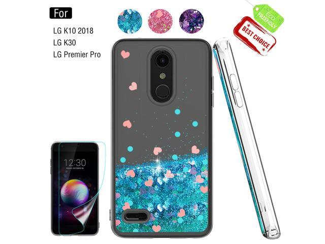 LG K30 Phone Case,LG Premier Pro LTE Case with HD Screen Protector for  Girls Women,Atump Shiny Bling Moving Liquid Quicksand Clear TPU Protective