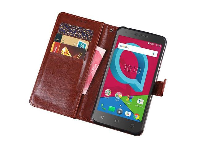 Alcatel IdealXCITE / Verso / CameoX 5044R /Raven LTE A574BL Case, Alcatel  U50 5044S Case, Telegaming Retro Oil Wax Leather Wallet Flip Case With Card
