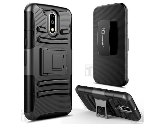 new concept c36a8 7b537 Moto G4 Case, Moto G4 Plus Case, TownShop Black Rugged Impact Armor Hybrid  Kickstand Cover with Belt Clip Holster Case for Motorola Moto G4 / Moto G4  ...