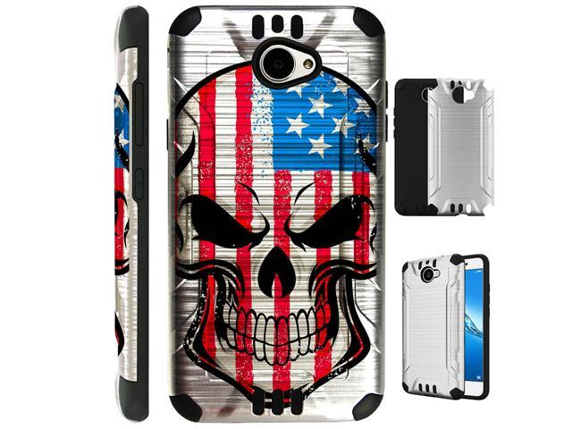 For Huawei Ascend XT2/Huawei Ascend XT 2/Huawei Elate 4G Case Brushed Metal  Texture Hybrid TPU Silver Guard Plastic Phone Cover (US Flag Skull) -