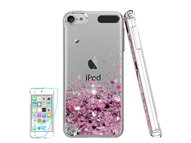 more photos 5d032 44edd iPod Touch 6 Case, iPod Touch 5 Case with HD Screen Protector for  Girls,Atump[Love Heart Series] Liquid Glitter Bling Sparkly TPU Clear Phone  Cover ...