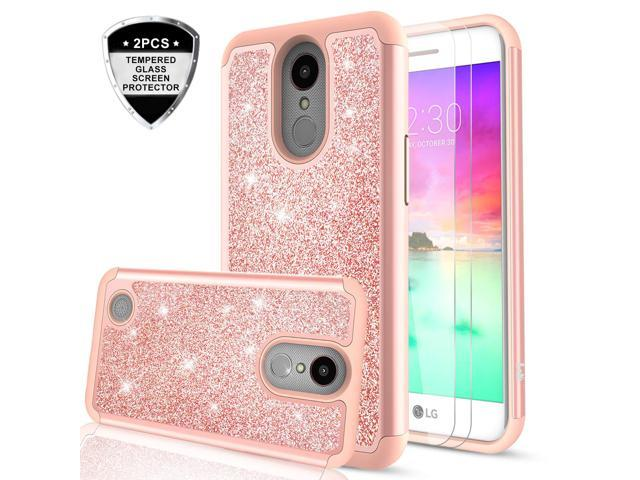 super popular 16d88 f1eab LG K20 Plus case, LG K20 / LG K20 V/LG Harmony/LG K10 2017 / LG LV5/ LG  Grace Case with 2PCS Tempered Glass Screen Protector, LeYi Glitter Bling  Girls ...