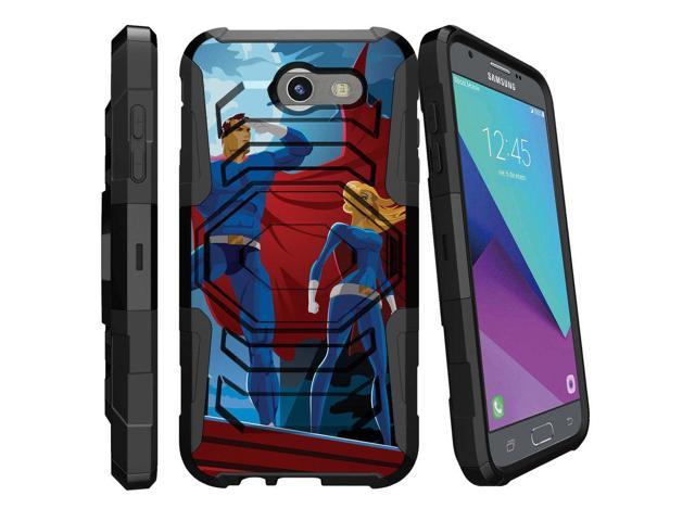 MINITURTLE Case Compatible w/Case for [Samsung Galaxy J3 Emerge | J3 Prime  | J3 Eclipse | Luna Pro 2017] [Armor Reloaded] Dual Layer Hard Shell Stand