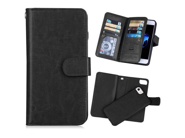 iPhone 7(4 7'') Wallet Case,iPhone 8 Wallet Case [KAIFX] PU Leather Folio  Flip 9 Credit Card Slots Cash Holder Magnetic Flap Detachable Vintage Book
