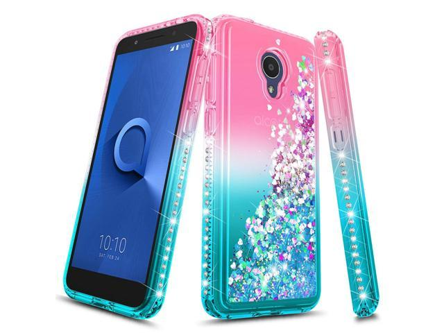 Alcatel 1X Evolve Case, Alcatel TCL LX (A502DL), Alcatel IdealXTRA Case,  NageBee Glitter Liquid Quicksand Waterfall Floating Flowing Sparkle Shiny