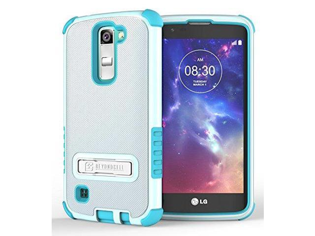 WHITE/TURQUOISE TRI-SHIELD RUGGED CASE COVER WITH METAL KICKSTAND + SCREEN  PROTECTOR FOR LG K7 and LG TRIBUTE 5 (LG LS675, LG MS330, Sprint, MetroPCS,