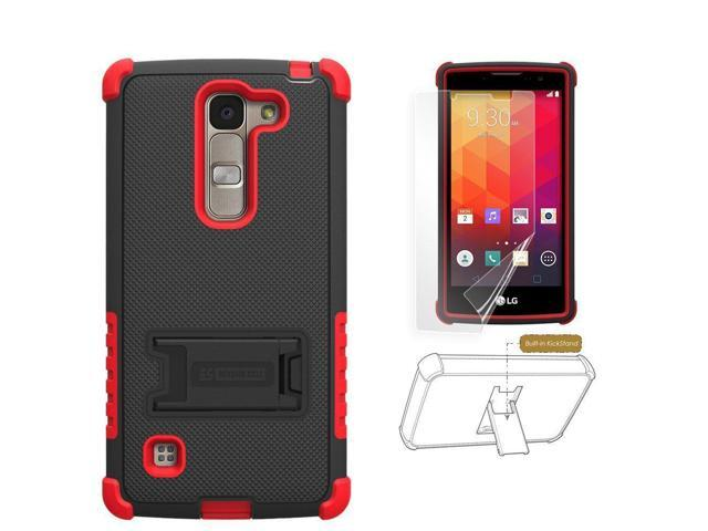 premium selection 8d301 676d8 LG Spirit Case, LG Logos, Escape2, H443, C70, PimpCase Durable Hybrid  Rugged [Full Body Protection] Armor Shockproof Red Black Phone Cover With  Built ...