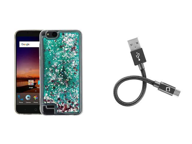 Bemz Liquid Series Glitter Case (Aqua Star Hearts) for ZTE ZFive C LTE  Z558VL, ZFive G LTE Z557BL, Blade Vantage, Avid 4, Avid 557 with Mini USB  Cable