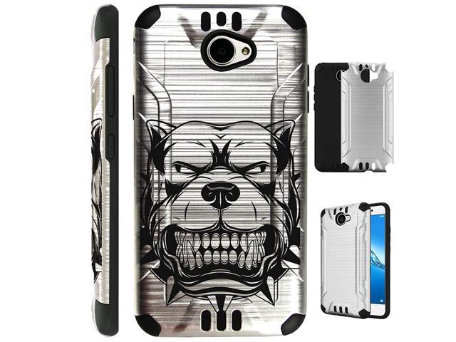 For Huawei Ascend XT2/Huawei Ascend XT 2/Huawei Elate 4G Case Brushed Metal  Texture Hybrid TPU Silver Guard Plastic Phone Cover (Mad Dog Silver) -