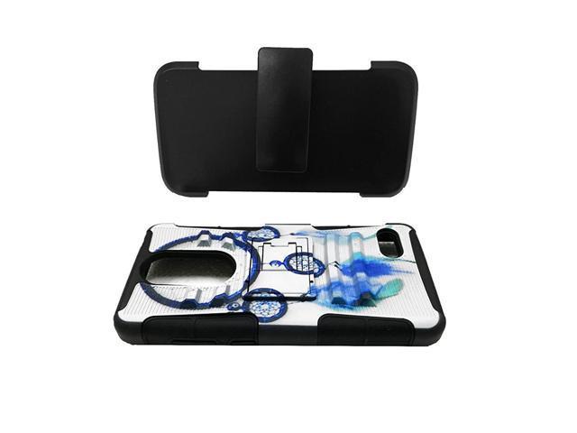 For ZTE Blade Spark Z971 / ZTE GRAND X4 X 4 Z956 Dual Hybrid Belt Clip  Holster Case Phone Cover + Gift Stand (Belt Clip Blue Dream Catcher) -