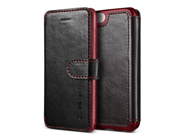 new style 2216f 0d1fa iPhone SE Case, VRS Design [Layered Dandy Series] Slim Fit Premium PU  Leather Wallet with 3 Card Slots for Apple iPhone SE 2016 - Black -  Newegg.com