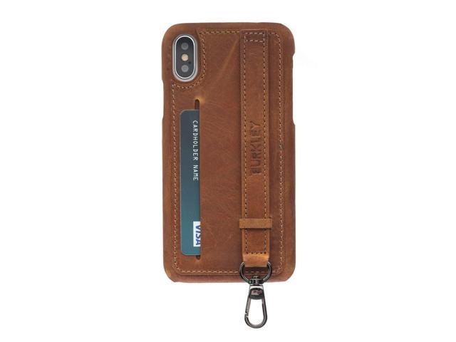 finest selection b21c0 7365d Burkley Case, Belton 3-in-1 Full Grain Leather Snap On Case with Card Slot,  Kickstand and Wristlet Strap Compatible with Apple iPhone X or iPhone Xs ...
