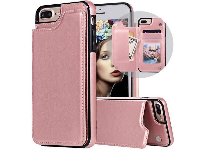 half off 07ee1 8c25f iPhone 7 Plus Wallet Case,iPhone 8 Plus Case with Card Holder,Auker Slim  Thin Folio Flip Leather Secure Fit Magnetic Clasp Closure Purse Case with  ...