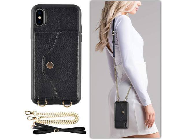 online store 84ddb 89101 iPhone Xs Max Wallet Case Compatible, LAMEEKU iPhone Xs Max Case with  Credit Card Holder Slot Leather Case, Shockproof Cover with Crossbody Chain  ...